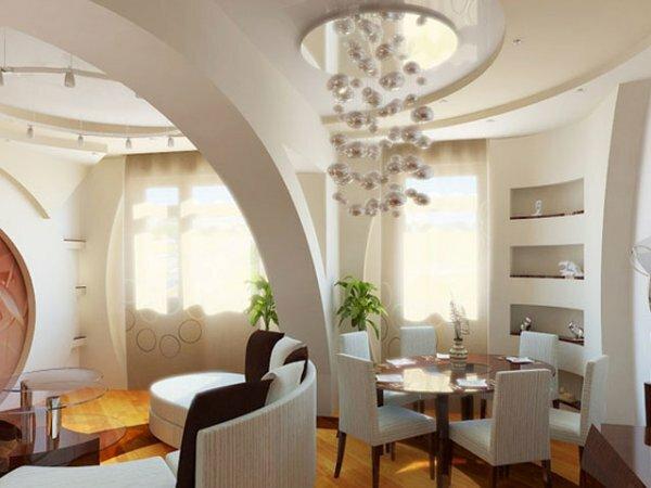 Фигурная декоративная балка для зонирования гостиной