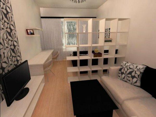 Перегородка – стеллаж: комната родителей и детская