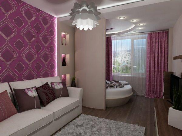 Дополнительная стена-ширма между гостиной и спальней