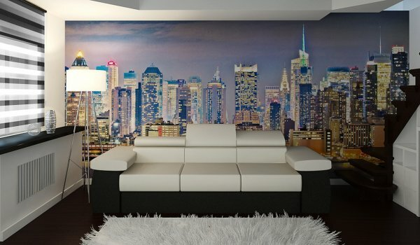 Акцентная стена «Ночной город»