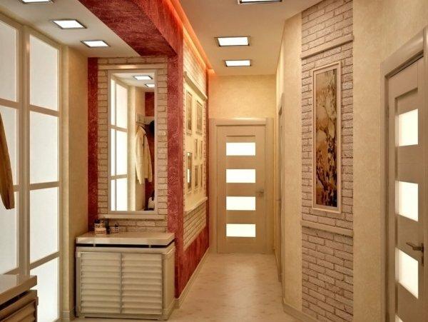 Светлый декоративный кирпич может внести изысканность в маленькую прихожую