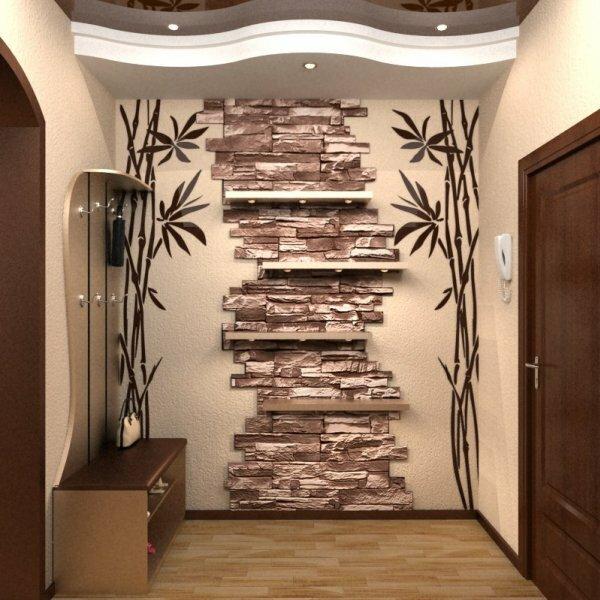 Добавив по сторонам каменной кладки рисунок бамбука, получаем азиатский стиль