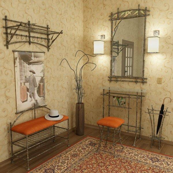 В прихожей стильно смотрится мебель, сделанная вручную из металлических прутьев