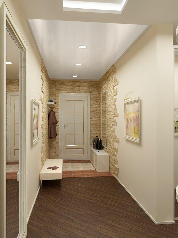 Сочетание однотонной стены с частичной декоративной каменной кладкой всегда будет выглядеть современно