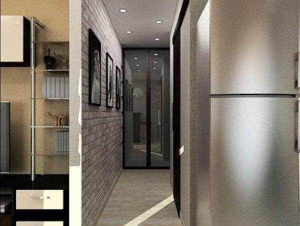 В узкой длинной прихожей встроенный шкаф устанавливайте в конце помещения
