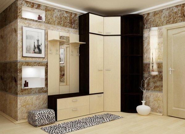 Встроенный угловой шкаф с открытой вешалкой подходит для просторной прихожей