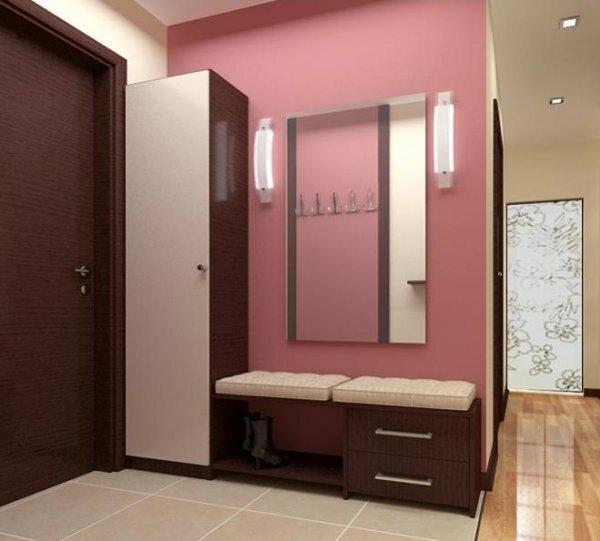 Покрасив стены прихожей в разные цвета, вы разделите ее на зоны