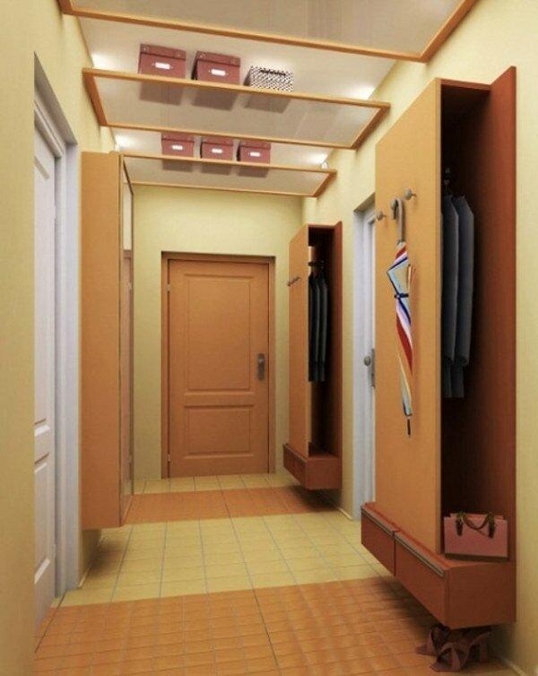 Для хранения коробок в прихожей можно установить стеклянные ниши под потолком