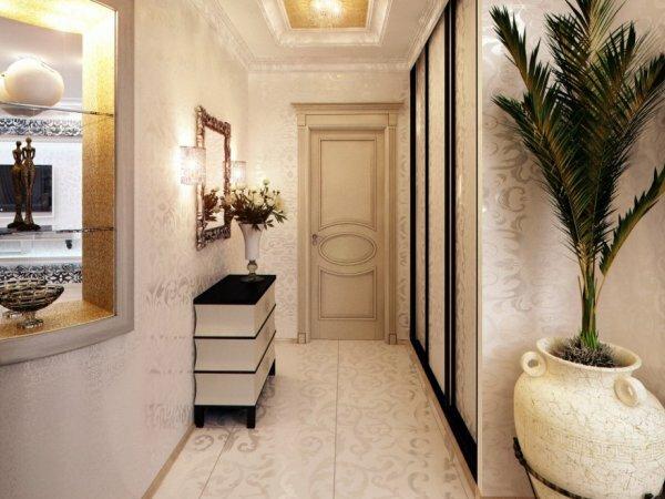 Аккуратный узор, который заполнил всю комнату от пола до потолка, добавит неповторимую изюминку коридору