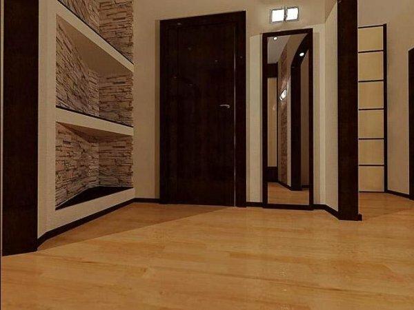 Необязательно отделывать камнем всю комнату, достаточно оформить им шкаф или нишу