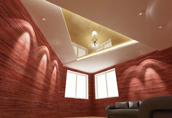 Острые углы дизайна потолка хорошо подходят для зала нестандартной формы