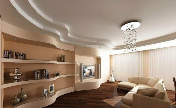 Двойная волна навесного потолка имеет очень презентабельный вид